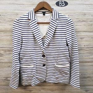 J Crew White & Royal Blue Striped Blazer
